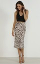 Satin Animal Leopard Print Midi Slip Skirt by URBAN TOUCH