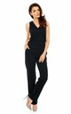 Sleeveless Jumpsuit with V-Neck in Black by Bergamo