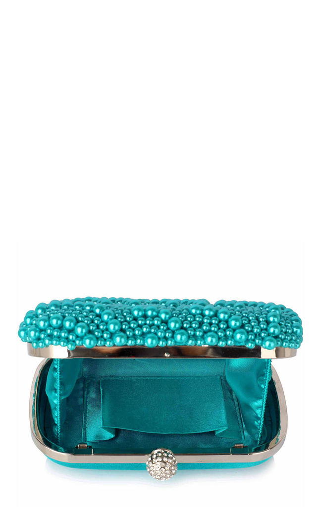 Mint green pearl beaded evening clutch bag by Hello Handbag