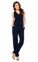 Sleeveless Jumpsuit with V-Neck in Navy by Bergamo