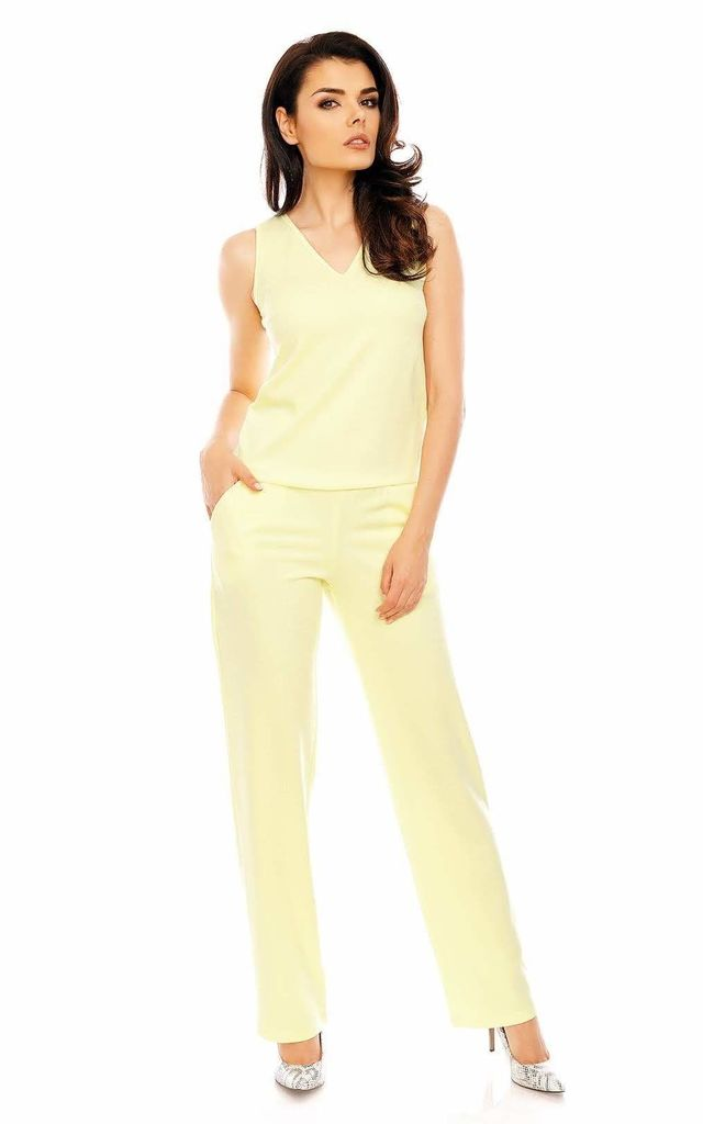Sleeveless Jumpsuit with V-Neck in Yellow by Bergamo