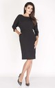Tailored Midi Dress with 3/4 Sleeves and U-Neck in Black by Bergamo