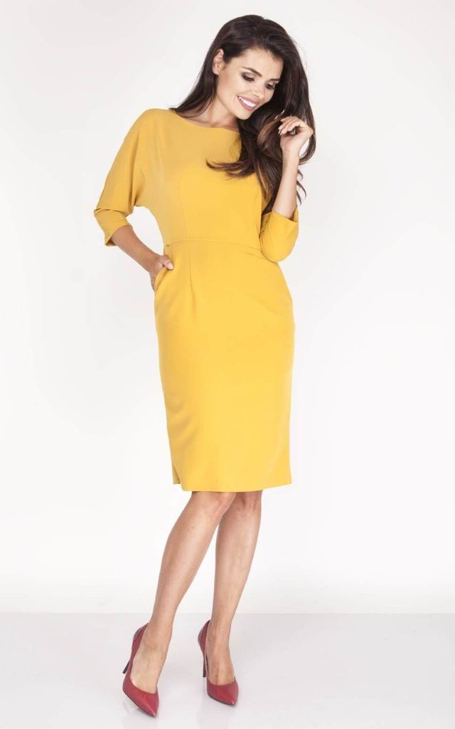 Tailored Midi Dress with 3/4 Sleeves and U-Neck in Yellow by Bergamo