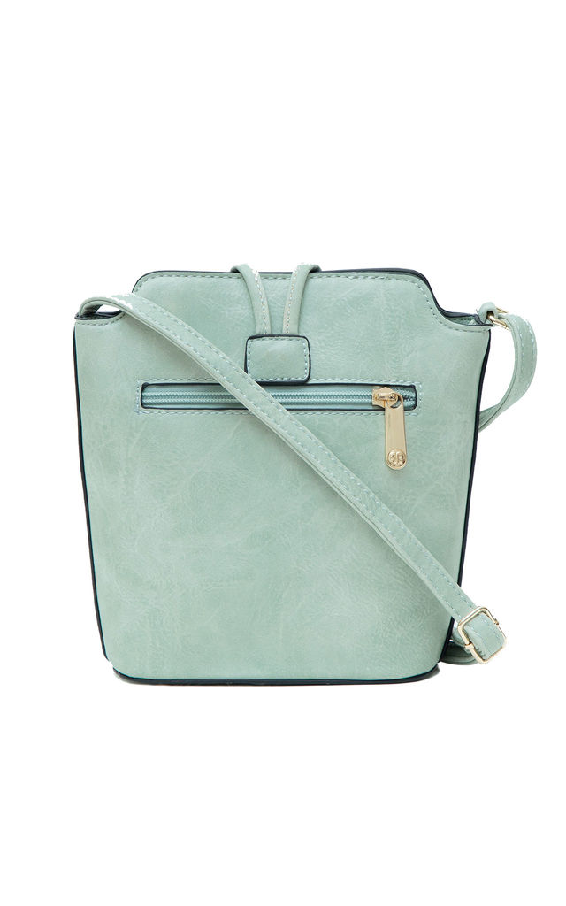 SMALL CROSSBODY BAG WITH BIG BUTTON GREEN by BESSIE LONDON