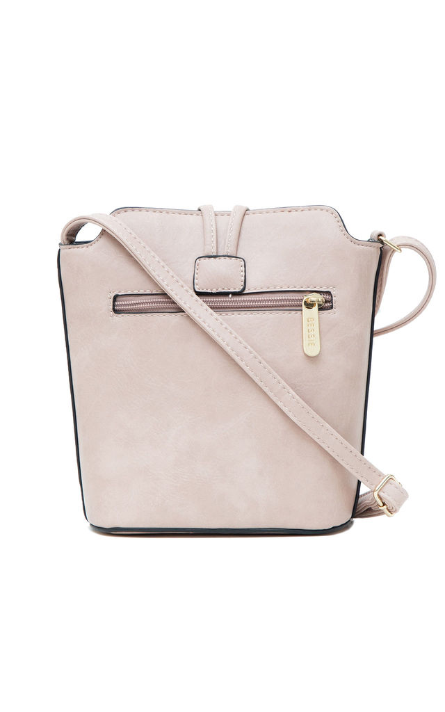 SMALL CROSSBODY BAG WITH BIG BUTTON PINK by BESSIE LONDON