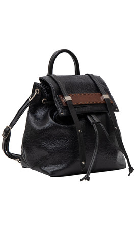 DRAWSTRING WOOD BAR BACKPACK BLACK by BESSIE LONDON
