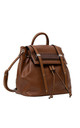 DRAWSTRING WOOD BAR BACKPACK TAN by BESSIE LONDON