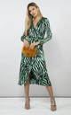 YONDAL DRESS IN GREEN ZEBRA by Dancing Leopard