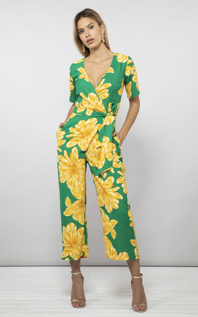 ATLANTIS JUMPSUIT IN YELLOW ON GREEN BLOOM image
