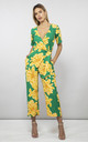 Atlantis Jumpsuit Yellow On Green Bloom by Dancing Leopard