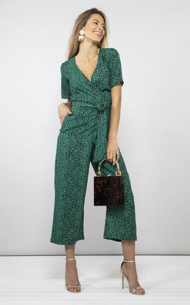 Atlantis Jumpsuit In Small Green Leopard by Dancing Leopard