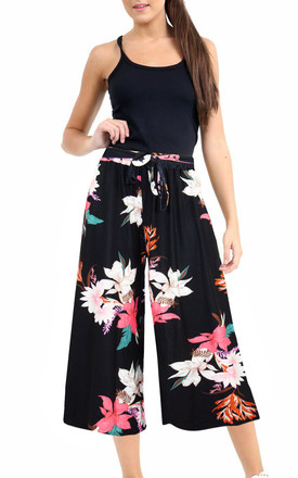 High Waisted Floral Print Belted Culotte Trousers by Oops Fashion