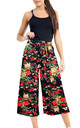 High Waisted Multi Floral Print Cropped Leg Culotte by Oops Fashion
