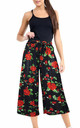 High Waisted Red Floral Print Trousers by Oops Fashion