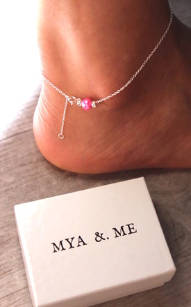 """Mya"" Anklet in Hot Pink 925 sterling silver by Mya &. Me"