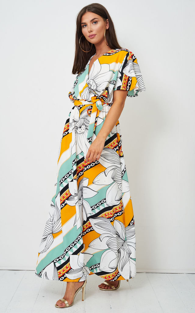 Abigail White Floral Batwing Maxi Dress by Frontrow Limited