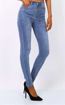 High Waisted Skinny Jeans in Denim Blue by FreeSpirits
