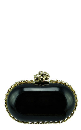 Black oval egg evening chain clutch bag by Hello Handbag