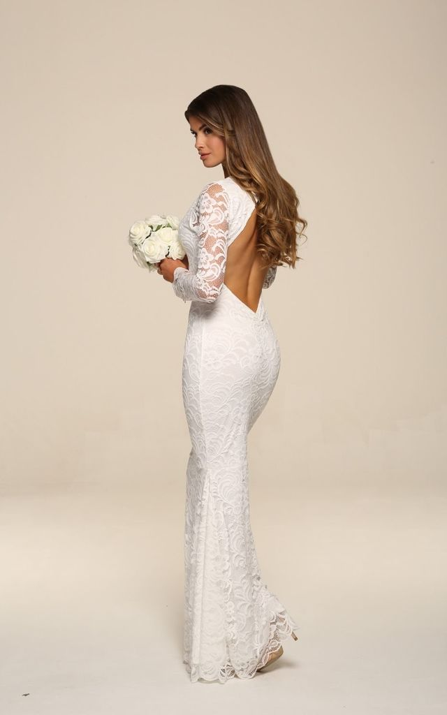 Faye Ivory Backless Lace Fishtail Maxi Dress With Long Sleeves by Honor Gold