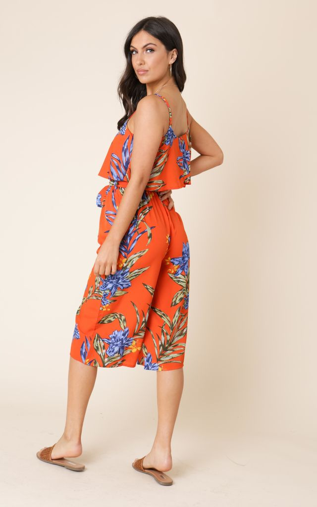 Orange Tropical Print Culotte Jumpsuit by Free Spirits