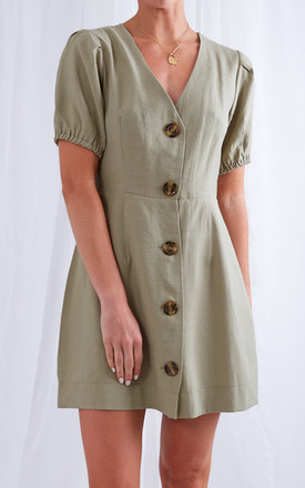 Payton Mini Button Dress   Khaki by Pretty Lavish Product photo