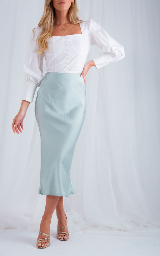 Shelby Slip Skirt - Mint Green by Pretty Lavish