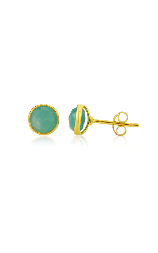 Savanne Gold Stud Earrings with Amazonite by Auree Jewellery
