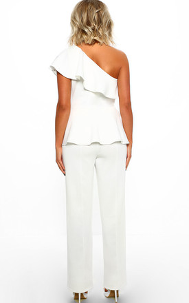 Eye Catcher White One Shoulder Peplum Jumpsuit by Pink Boutique