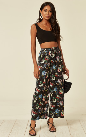 Satin Floral Print Wide Leg Trousers In Black by D.Anna Product photo