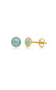 Savanne Gold Stud Earrings with Blue Chalcedony by Auree Jewellery