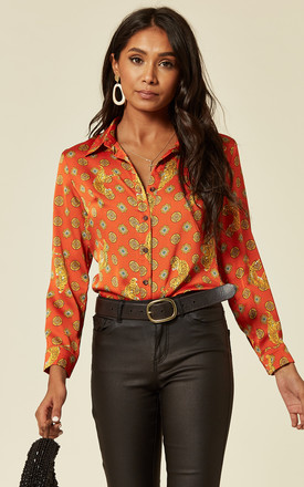 Satin Tiger Print Shirt With Long Sleeves In Orange Red. by D.Anna Product photo