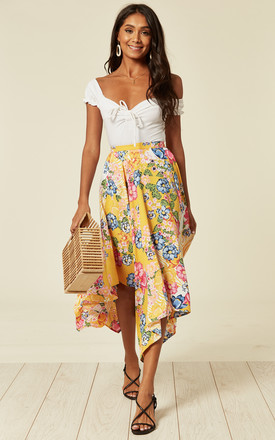Floral Print Asymmetrical Midi Skirt In Yellow。 by D.Anna Product photo