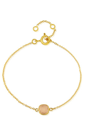 Brooklyn Gold Bracelet with Rose Quartz Charm by Auree Jewellery