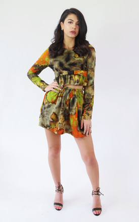 Long Sleeve Crop Top In Green And Orange Tie Dye by The Lazy Ones Product photo