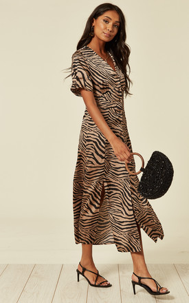 Satin animal print V neck button through midi dress by D.Anna