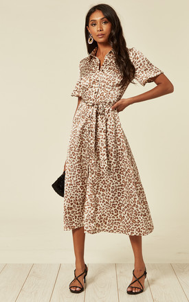 Satin Cream And Coral Leopard Print Midi Shirt Dress With Belt by D.Anna Product photo