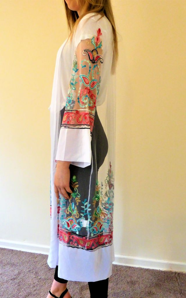 LONG SLEEVE KIMONO with FLORAL EMBROIDERY in WHITE by Love Modest Fashion