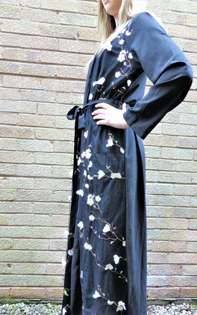 LONG SLEEVE KIMONO with FLORAL DETAIL in BLACK by Love Modest Fashion