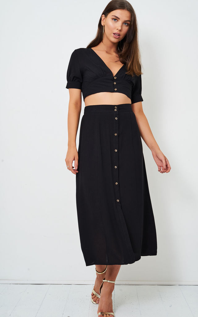 Eden Black Linen Cropped Top by Frontrow Limited