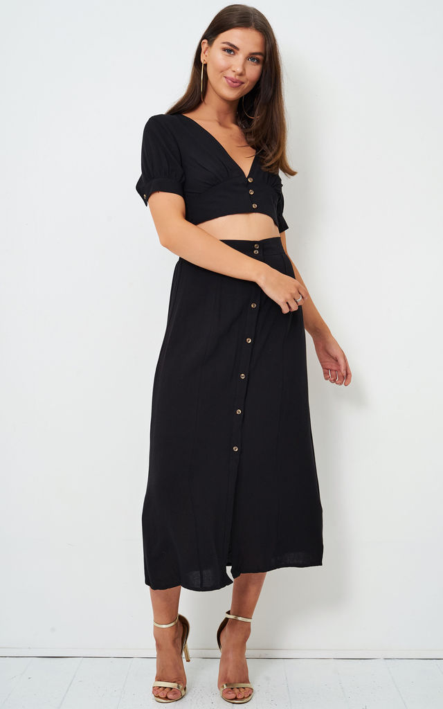 Eden Black Linen Button Midi Skirt by love frontrow