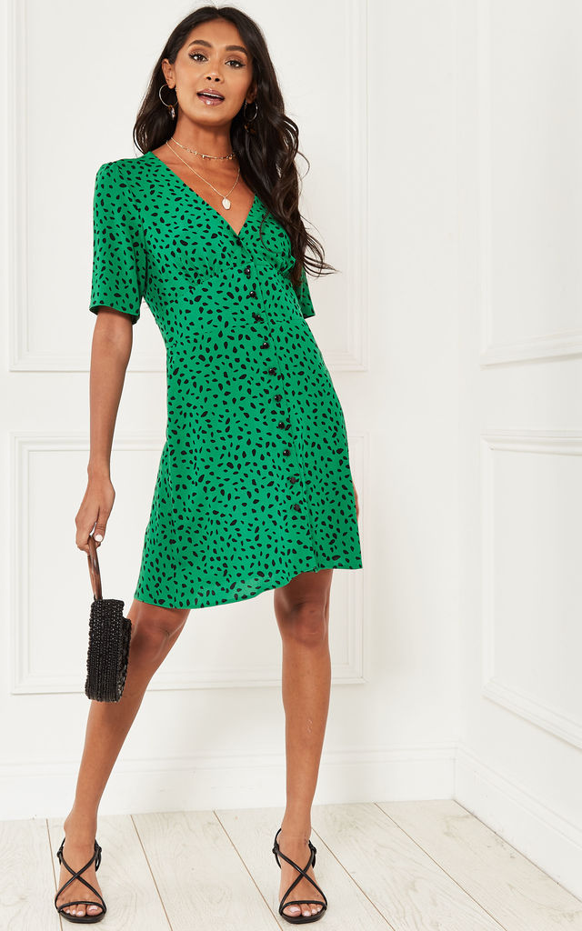 Green and Black Spot Alexa Mini Dress by Nobody's Child