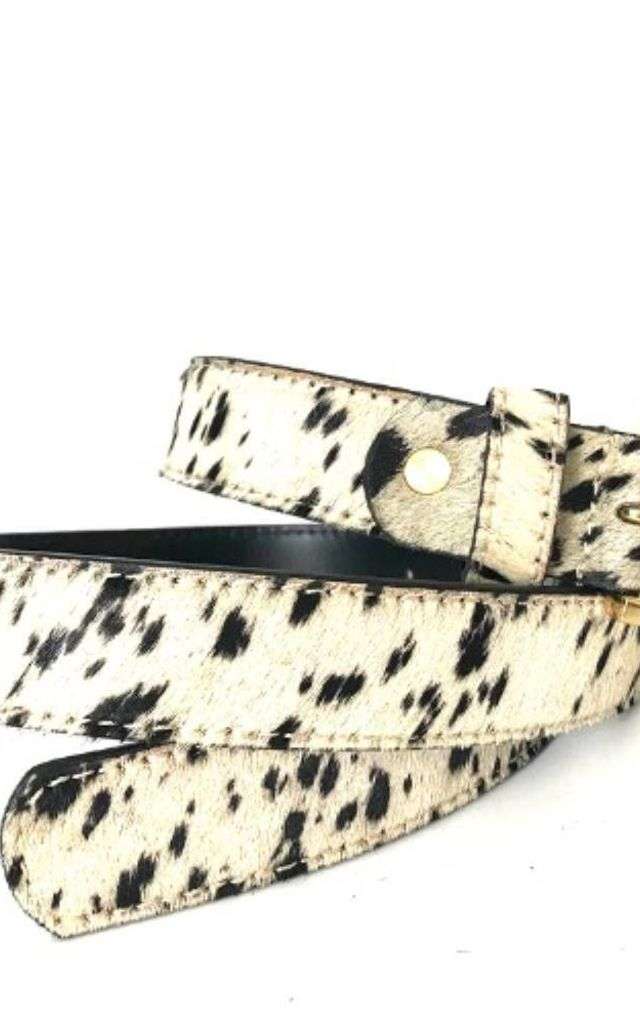 Spotty Cow Pony Hair Leather Belt by hydestyle london