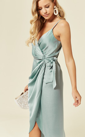 Tie Side Wrap Silky Dress Duck egg blue by Another Look
