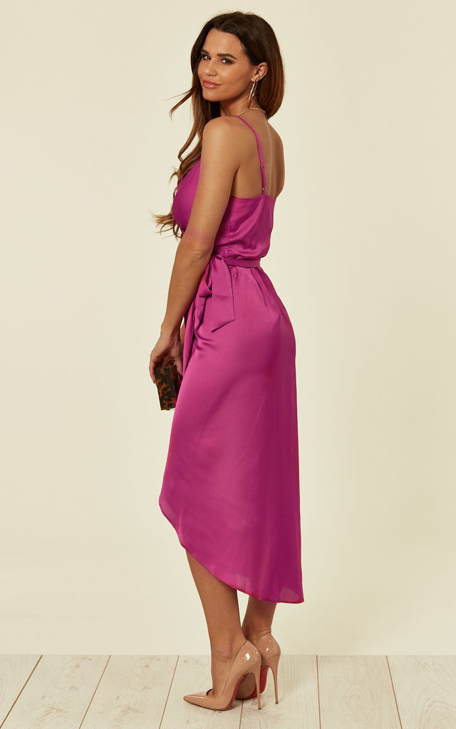 Tie Side Wrap Silky Dress Fuchsia by Another Look