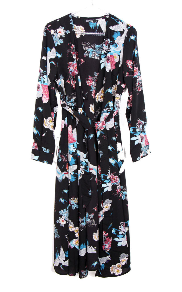Silky Flamingo & Floral Print Longline Kimono Jacket in Black by Urban Mist