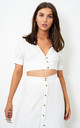 Eden White Linen Cropped Top by Frontrow Limited