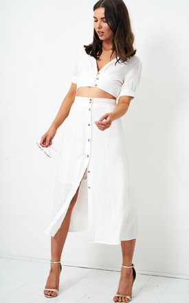 Eden White Linen Button Midi Skirt by love frontrow