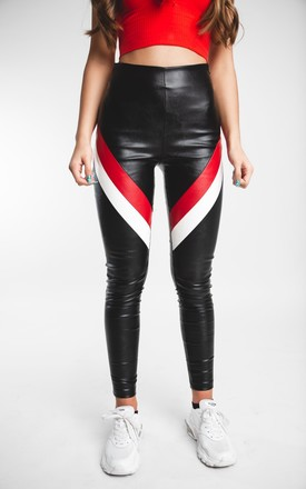 'F1' Faux Leather Trousers with White and Red Stripes by Storm Label