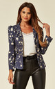Navy Tailored Faux Suede Floral Blazer Jacket by ANGELEYE