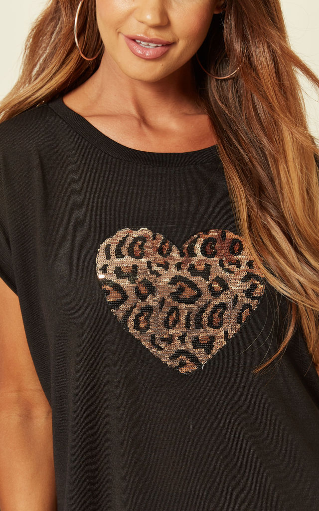 Exclusive Lynda Leopard Heart Sequin Top in Black by Blue Vanilla